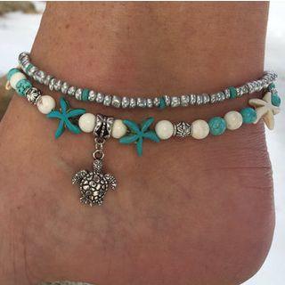 Yeoleum - 绿松石仿珍珠海星及海龟吊坠脚链