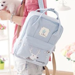 Canvas Love - Deer Print Canvas Backpack