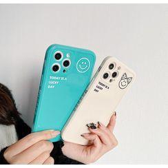 DipCool - Smiley Print Lettering Phone Case - iPhone 12 Pro Max / 12 Pro / 12 / 12 mini / 11 Pro Max / 11 Pro / 11 / SE / XS Max / XS / XR / X / SE 2 / 8 / 8 Plus / 7 / 7 Plus