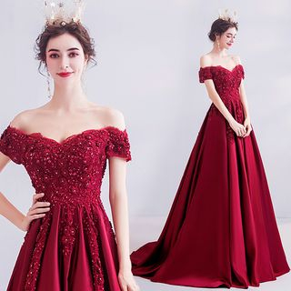 Angel Bridal - 露肩水钻刺绣晚礼服