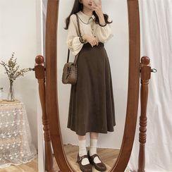Bellobeam - Long-Sleeve Blouse / Midi A-Line Skirt
