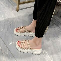 Shoes Galore - Platform Strappy Slide Sandals