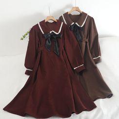 Pinatra - 泡泡袖飾領A字連衣中裙