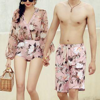 Candyseed - Couple Matching Flower Print Swim Trunks / Bikini Top / Long-Sleeve Swimsuit