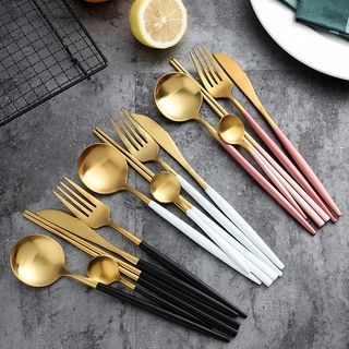 Cheemee - Two-tone Stainless Steel Chopsticks / Knife / Fork / Spoon / Set