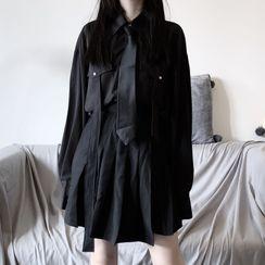 LINSI - 纯色衬衫配领带 / 打褶A字裙