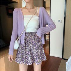 Shinsei - Knit Camisole Top / Cardigan / Floral Print Mini Skirt