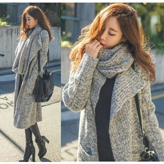 Hilsah - Set: Open Front Knit Jacket + Scarf