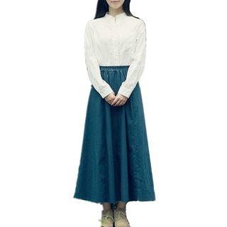 Sulis - High Waist Midi A-Line Skirt / Blouse