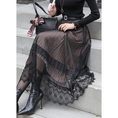 Styleonme - Reversible Lace Velvet Long Skirt