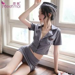 Femmu - Flight Attendant Lingerie Set: Mini Shirt + Mini Skirt + Thong + Hat