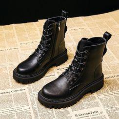 Poski - Platform Block Heel Lace Up Short Boots