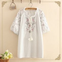 Kawaii Fairyland - Floral Embroidered Elbow-Sleeve Blouse with Tie