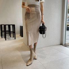 DABAGIRL - Slit-Back Checked Long Pencil Skirt