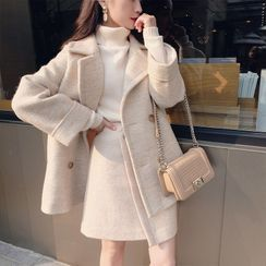 Antoinine - Set: Double Breasted Coat + A-Line Mini Skirt