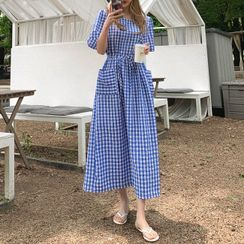 Cherryville - Drawstring-Waist Gingham Dress