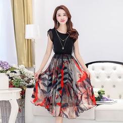 Fancy Show - Two-Tone Chiffon Dress