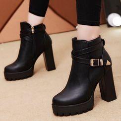 Weiya - Chunky Heel Platform Short Boots