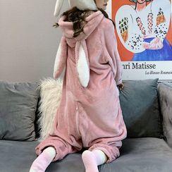 AKANYA - Mono de dormir de felpa con capucha y cremallera