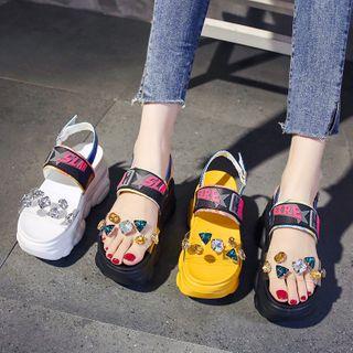 Sleeko - 字母彩色水鑽帶厚底涼鞋
