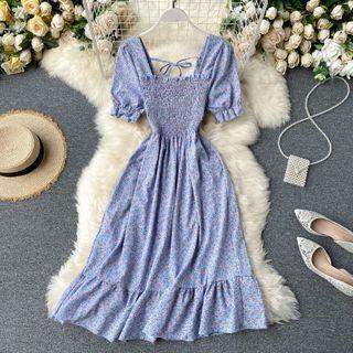Lucuna - Floral Short-Sleeve Square-Neck Midi A-Line Dress