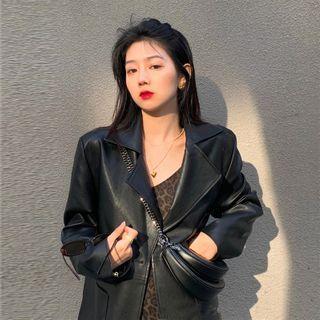 Flowerisque - Spaghetti Strap Leopard Print Dress / Faux Leather Single Breasted Blazer