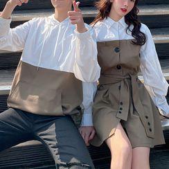 Harbor Duo - 情侶插色連帽衫 / 襯衫連衣裙