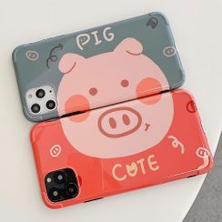 OUROBA - Couple Matching Pig Print Phone Case - iPhone 11 Pro Max / 11 Pro / 11 / XS Max / XS / XR / X / 8 / 8 Plus / 7 / 7 Plus / 6s / 6s Plus