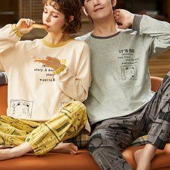 Jeony(ジェオニー) - Couple Matching Long Sleeve Pajama Set