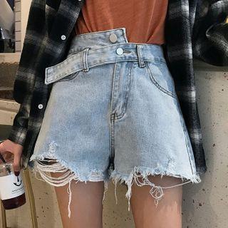 Colsme - Ripped Wide-Leg Denim Shorts