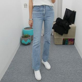 Seoul Fashion - Washed Semi Boot-Cut Jeans