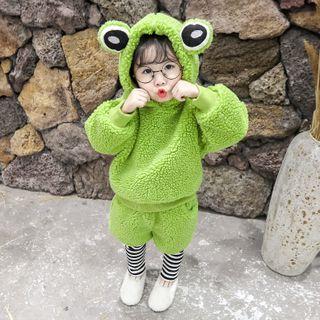 Ohori - Kids Set: Furry Frog Hoodie + Inset Shorts Leggings