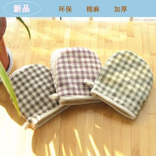 Hyole - Plaid cotton and linen thickening heat oven gloves
