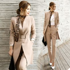 Maine - Set: Plain Long Blazer + Pants