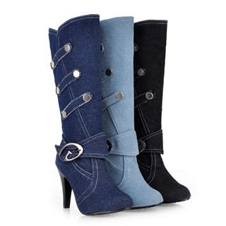 Carnival Beast - High-Heel Buckle Denim Long Boots