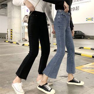 Dear Yours - Washed Cropped Boot-Cut Jeans