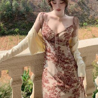 Jeans Kingdom - Spaghetti Strap Floral Print Midi A-Line Dress