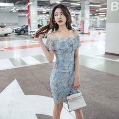 Cape Jasmine - Short-Sleeve Cold Shoulder Floral Print Dress