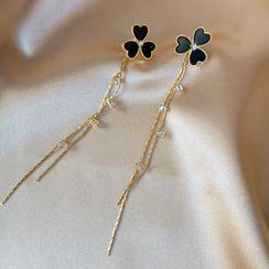 Ignar - Rhinestone Alloy Leaf Fringed Earring