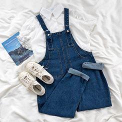 CaraMelody - Short-Sleeve Plain Blouse / Denim Jumpsuit
