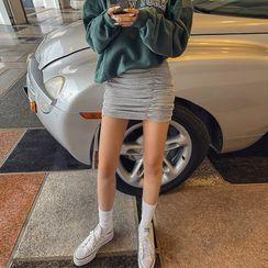 LIPHOP - Shirred Mini Pencil Skirt