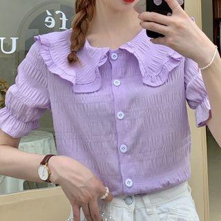 MIKIGA - Plain Ruffle Short Sleeve Blouse