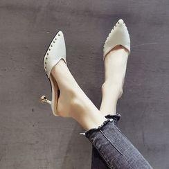 Zimu - Pointed Studded High Heel Mules