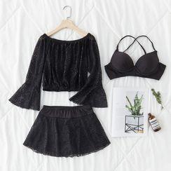 Anuket - Set: Strappy Bikini Top + Swim Skirt + Cover-Up Top