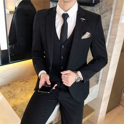 Aamon - Set: Single-Button Blazer + Single-Breasted Vest + Dress Pants