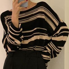 Sugamilkus - Long-Sleeve Striped Knit Top