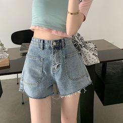 merryberry - Washed Frayed Denim Shorts
