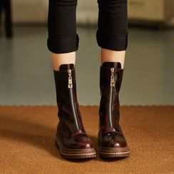 JY Shoes - Genuine Leather Zip-Up Short Boots