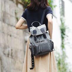 Evanki - Flap Drawstring Lightweight Backpack