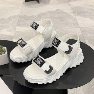 GRUNE - Adhesive Strap Platform Sandals